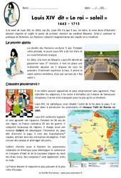 Louis XIV - Le roi soleil 1643 - 1715 - Exercices : 4eme Primaire