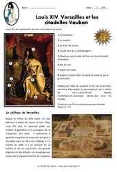 Louis XIV, Versailles et les  citadelles Vauban - Exercices : 4eme Primaire