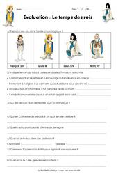 Temps des rois - Examen Evaluation : 4eme Primaire