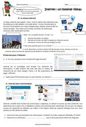 Internet - Fiches un immense réseau - Exercices : 5eme Primaire