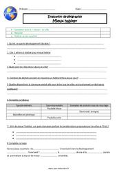 Mieux habiter - Examen Evaluation : 5eme Primaire