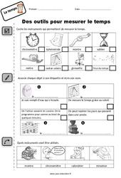 Outils pour mesurer le temps - Exercices : 1ere Primaire