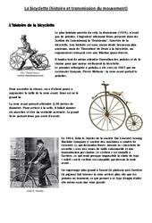 Bicyclette - Histoire et transmission du mouvement - Exercices - Sciences : 4eme, 5eme Primaire