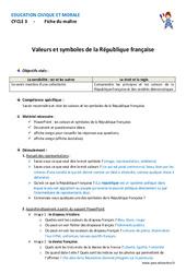 Valeurs et symboles de la République française - Fiche de préparation : 4eme, 5eme Primaire