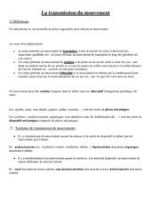 Transmission du mouvement - Cours, Leçon - Sciences : 4eme, 5eme Primaire