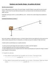 Leviers et balances- Fiches Documents + questions - Les leviers : 3eme, 4eme, 5eme Primaire