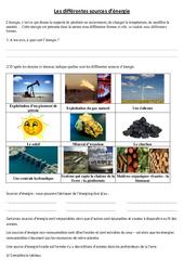 L'énergie - Exercices - Sciences : 4eme, 5eme Primaire