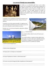 Sources d'énergie non renouvelables - Exercices - Sciences : 4eme, 5eme Primaire