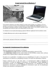 Introduction à l'informatique - A quoi servent les ordinateurs - Sciences : 3eme, 4eme, 5eme Primaire