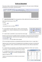 Fiche élève Ecrire un document - Informatique - Sciences : 3eme, 4eme, 5eme Primaire