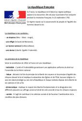 La république française - La république - Cours, Leçon : 4eme, 5eme Primaire