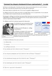 Comment les citoyens choisissent leurs représentants - Le vote - Document, questions, correction : 3eme, 4eme, 5eme Primaire