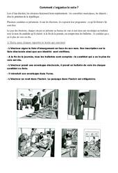 Comment s'organise le vote - Document, questions, correction : 3eme, 4eme, 5eme Primaire