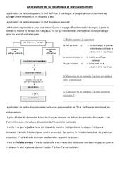 Le président de la république et le gouvernement - Document, questions : 4eme, 5eme Primaire