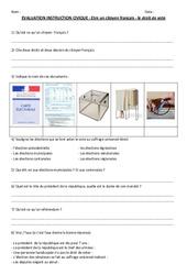 Le droit de vote - Examen Evaluation- Fiches Etre un citoyen français : 4eme, 5eme Primaire