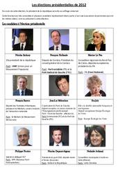 Les élections présidentielles de 2012 - Fiche - Exercices : 3eme, 4eme, 5eme Primaire