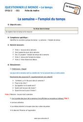 Semaine - Emploi du temps - Fiche de préparation : 2eme Primaire