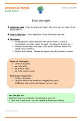 Situer des objets - Fiche de préparation : 3eme Maternelle - Cycle Fondamental