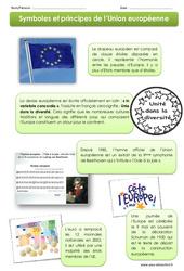 Symboles et principes de l'Union européenne - Exercices + Diaporama : 4eme, 5eme Primaire