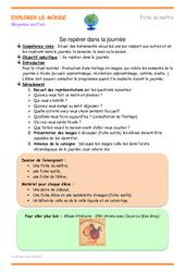 Se repérer dans la journée - Fiche de préparation : 2eme Maternelle - Cycle Fondamental