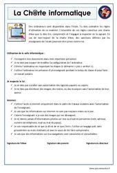 Charte informatique - EMC : 4eme, 5eme Primaire