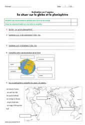 Se situer sur le globe et le planisphère - Examen Evaluation : 3eme Primaire