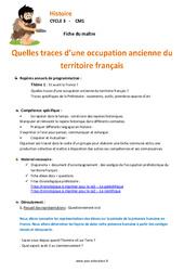 Traces d'une occupation ancienne du territoire français - Fiche de préparation : 3eme, 4eme Primaire