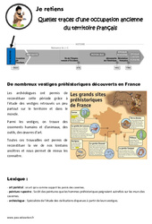Quelles traces d'une occupation ancienne du territoire français - Cours, Leçon : 3eme, 4eme Primaire
