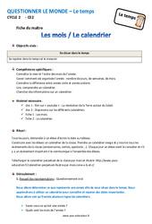 Mois - Calendrier - Fiche de préparation : 3eme Primaire