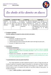 Droits et devoirs en classe - Fiche de préparation : 4eme, 5eme Primaire