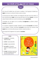 Droits et devoirs en classe - Cours, Leçon : 4eme, 5eme Primaire