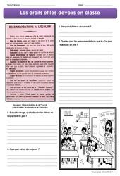 Droits et devoirs en classe - Exercices : 4eme, 5eme Primaire