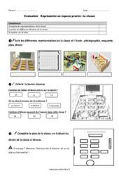 La classe - Représenter un espace proche - Examen Evaluation : 2eme Primaire