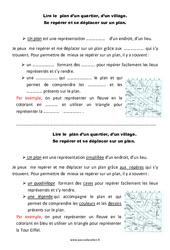 Quartier - Village - Cours, Leçon - Lire un plan : 2eme Primaire