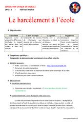 Le harcèlement à l'école - Fiche de préparation - EMC : 4eme, 5eme Primaire