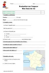 Mes lieux de vie - Examen Evaluation : 2eme Primaire