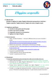 Hygiène corporelle - Fiche de préparation - EMC : 4eme, 5eme Primaire