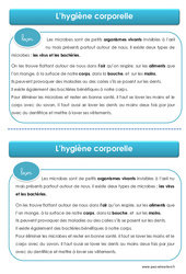Hygiène corporelle - Cours, Leçon - EMC : 1ere, 2eme, 3eme Primaire