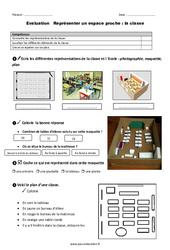 Classe - Examen Evaluation - Représenter un espace proche : 1ere Primaire