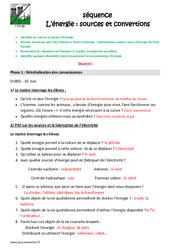 Energie - Sources et convertions - Fiche de préparation : 4eme, 5eme Primaire