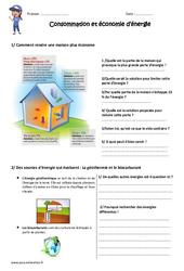 Consommation et économie d'énergie - Exercices : 4eme, 5eme Primaire