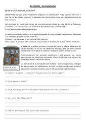 La mairie, la commune - Instruction civique - Documents, questions, corrigés : 3eme, 4eme Primaire