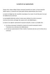 La mairie et ses représentants - Instruction civique - Cours, Leçon : 3eme, 4eme Primaire