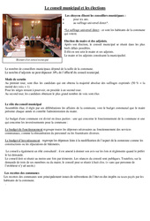 Le conseil municipal et les élections - Instruction civique - Documents, questions, corrigé : 3eme, 4eme Primaire