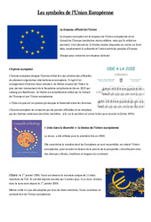Les symboles de l'UE - Instruction Civique- Fiches Etre un citoyen européen - Documents, questions, correction : 4eme, 5eme Primaire