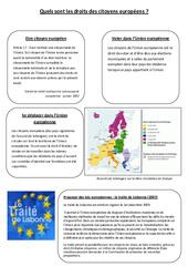 Quels sont les droits des citoyens européens?  - Instruction Civique- Fiches Etre un citoyen européen - Documents, questions, correction : 4eme, 5eme Primaire