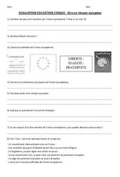 Etre un citoyen européen - Instruction Civique- Fiches Evaluation : 4eme, 5eme Primaire