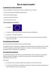 Etre un citoyen européen - Instruction Civique- Fiches Leçon : 4eme, 5eme Primaire