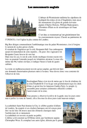 Monuments anglais - Civilisation Anglaise : 3eme, 4eme, 5eme Primaire