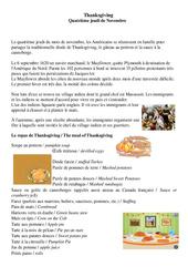 Thanksgiving - Quatrième jeudi de Novembre - Civilisation anglaise : 3eme, 4eme, 5eme Primaire
